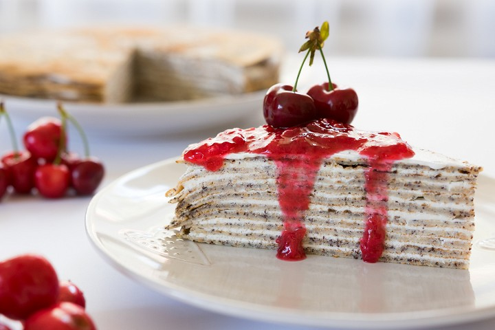 Poppy seed crepe cake